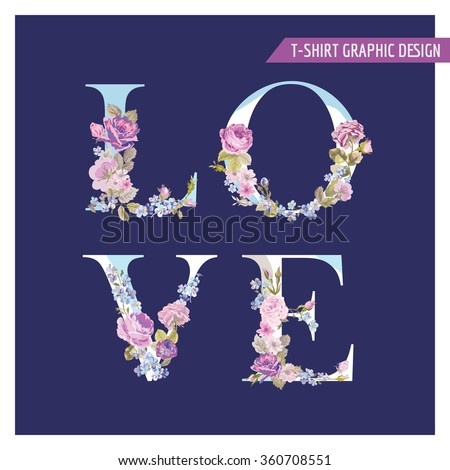 Vintage Flower Love Background - Watercolor Style - in vector - stock vector