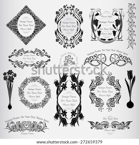 vintage flower vintage banners with frame for text and floral elements - stock vector