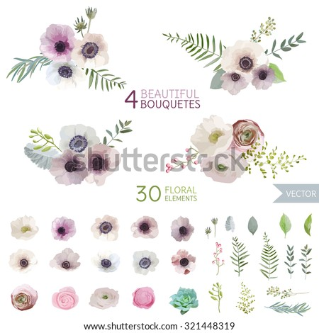 Vintage Flowers and Leaves - in Watercolor Style - vector - stock vector