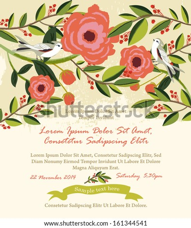 Vintage flowers & birds illustration Wedding Invitation - stock vector