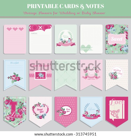 Vintage Flowers Card Set - for birthday, wedding, baby shower, party, design - in vector - stock vector