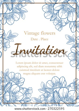 Vintage flowers. Romantic botanical invitation. Greeting card with floral background.  - stock vector