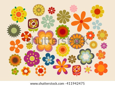 Vintage Flowers (60s/70s)part. 2 - stock vector