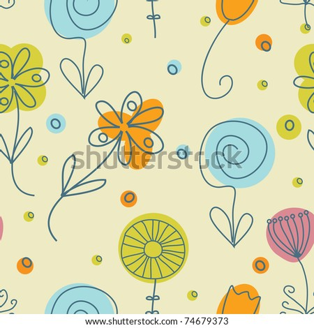 Vintage flowers. Seamless pattern - stock vector