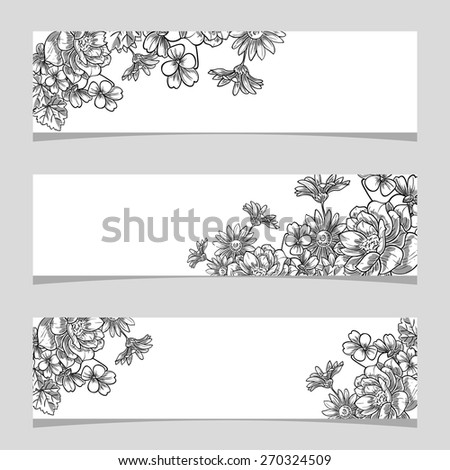 Vintage flowers. Three floral banners. Flower vector background brochure template. - stock vector