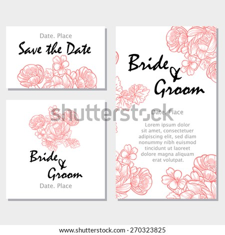 Vintage flowers. Wedding invitation cards with floral elements. Flower vector background.