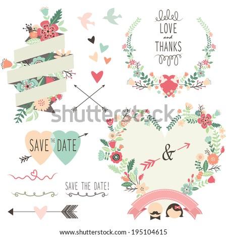 Vintage Flowers Wedding invitation design elements- Illustration - stock vector