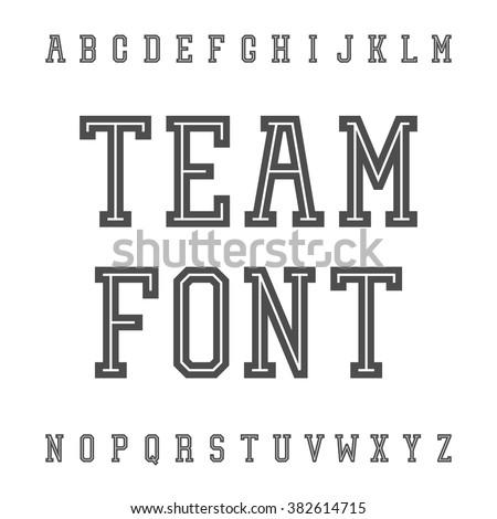 Vintage Font. Slab Serif Retro Typeface. University Team Style Latin Alphabet. Vector. - stock vector
