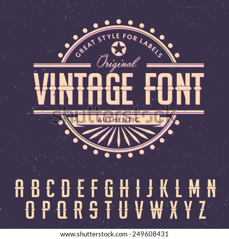 Vintage font with center sliced element on dusty background. EPS10 vector - stock vector