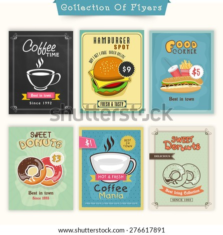 Vintage Food and Drinks flyer collection for Cafe, Fast Food Restaurant and Bakery Shop. - stock vector