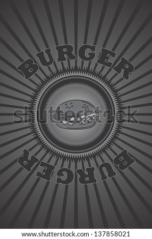 vintage food art burger - stock vector