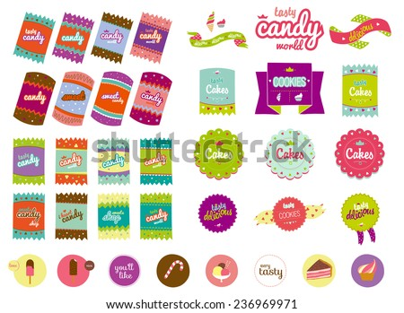 Vintage food collection of badges, labels, tags with tasty cookies. Vector illustration with cute and hipster elements. Sweet bakery for restaurants, cafes, cake manufacturer, on line shop, events. - stock vector