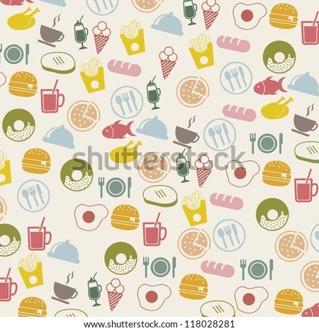 vintage food icons over beige background. vector - stock vector