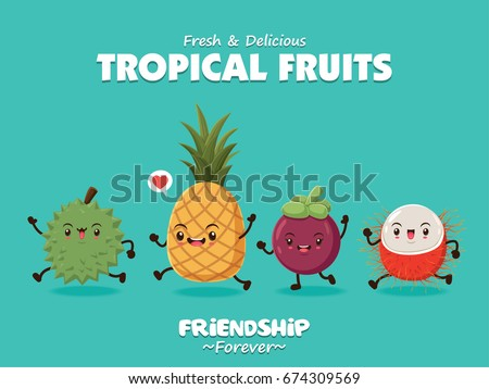 Vintage food poster design with vector durian, mangosteen, pineapple, rambutan character.