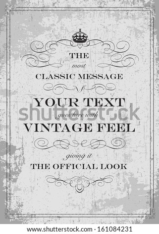 Vintage frame and distressed overlay. Easy to edit. - stock vector