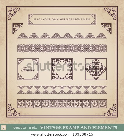 Vintage frame and elements set 5