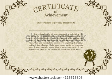 Vintage frame and other design elements.Can be used as certificate, diploma, business card etc. - stock vector