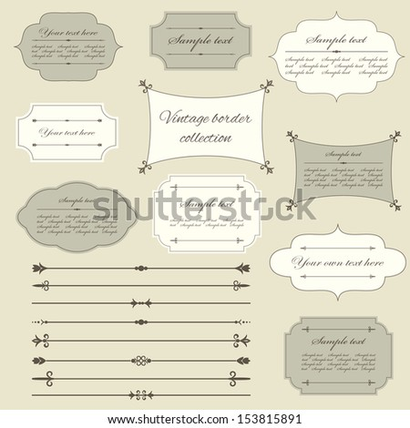 Vintage frame and page decoration set. Calligraphic design elements. - stock vector