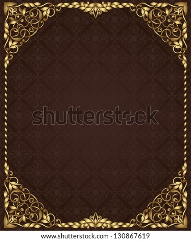 Vintage frame and seamless pattern