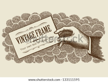Vintage Frame Background With Hand Vector - stock vector