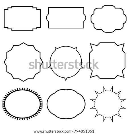 Vintage Frame Border On White Background Black Vector Set Labels