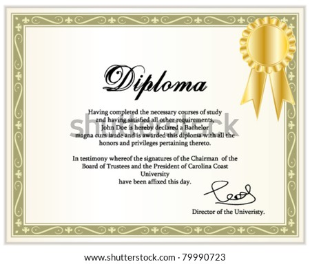 Vintage frame, certificate or diploma template with golden award ribbon. Vector illustration. - stock vector