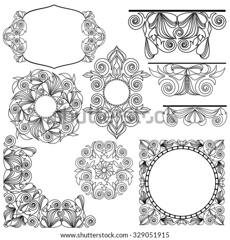 Vintage frame collection.Black and white deco borders - vector elements for design. - stock vector
