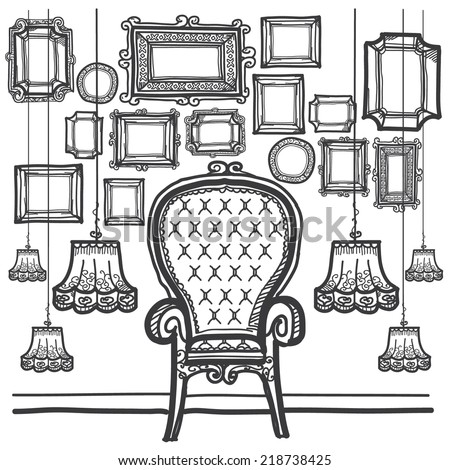 Vintage Frame Decorate Black Drawn - stock vector