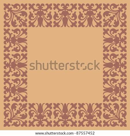 vintage frame design brown and beige colors - stock vector