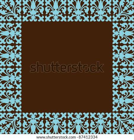vintage frame design brown and blue colors - stock vector