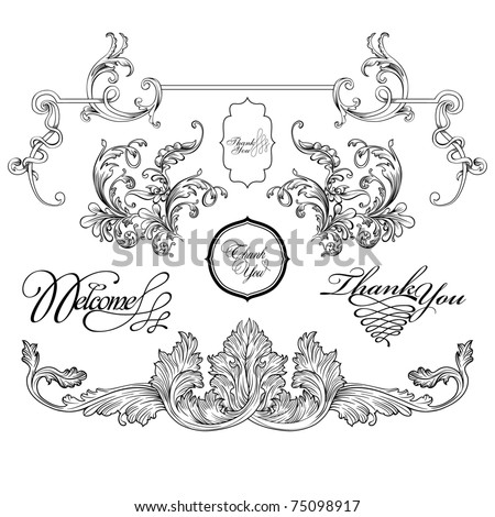 vintage frame designs set , vector - stock vector