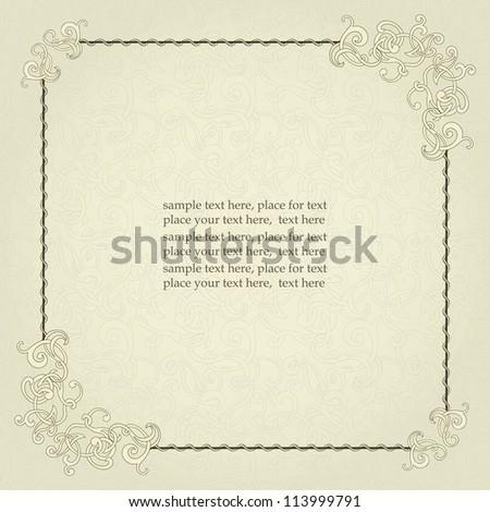 Vintage frame, elegant design, seamless background. - stock vector