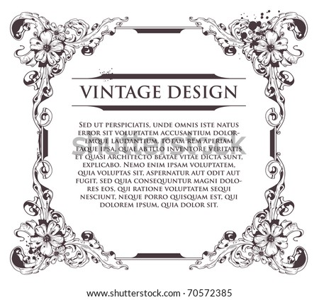 Vintage frame. Flourish heraldry elements. Vector EPS 10 illustration. - stock vector