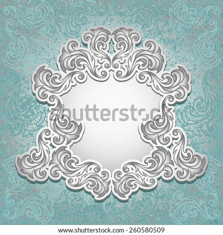 Vintage frame in blue silver color for invitation or congratulation wedding or Christmas or New Year or for decorate perfumer or cosmetic or for package   - stock vector