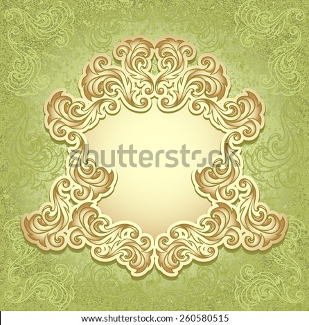 Vintage frame in green gold color for invitation or congratulation wedding or Christmas or New Year or for decorate perfume or cosmetic or for package   - stock vector