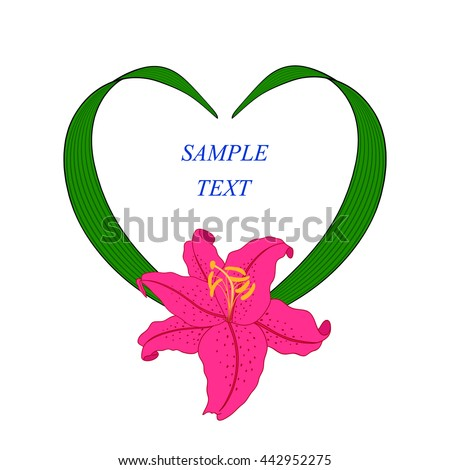Vintage frame in shape of heart with a Lily. - stock vector