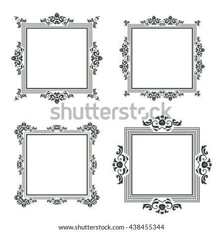 Vintage Frame Isolated On White Vector Stock Vector 438455344 ...