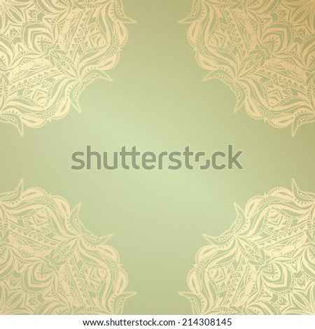 Vintage frame, lace pattern, vector abstraction - stock vector