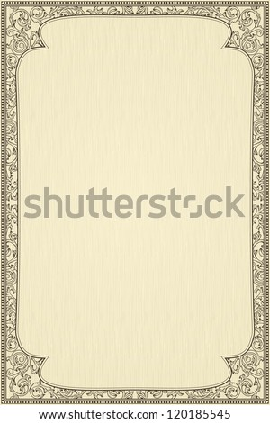 Vintage frame on beige textured background - stock vector