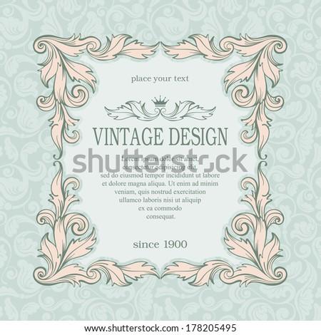 Vintage frame on ornate background. Vector, easy for edit.  - stock vector