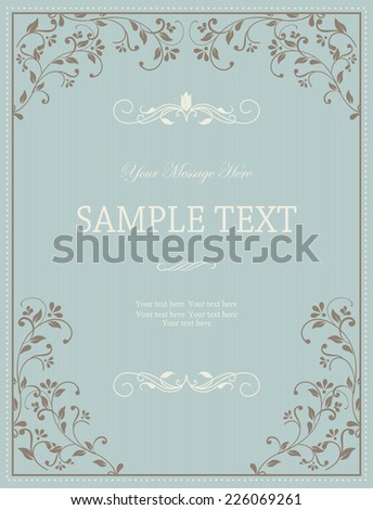 Vintage Frame on Retro Background Design in blue and brown - stock vector