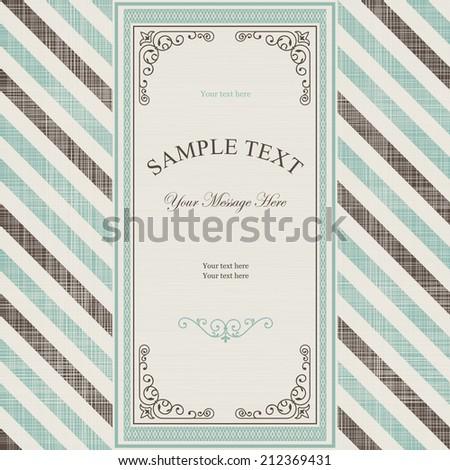 Vintage frame on retro diagonal striped background  - stock vector