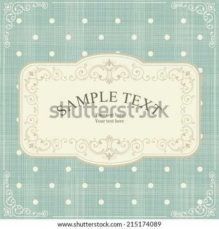 Vintage frame on retro polka dots background  - stock vector