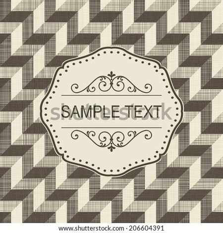 Vintage frame on retro seamless brown pattern - stock vector