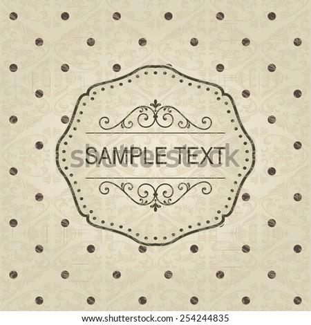 Vintage frame on retro seamless polka dots pattern - stock vector