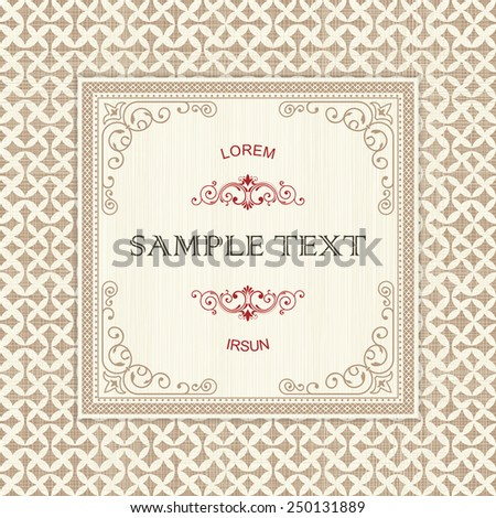 vintage frame on seamless abstract pattern  - stock vector