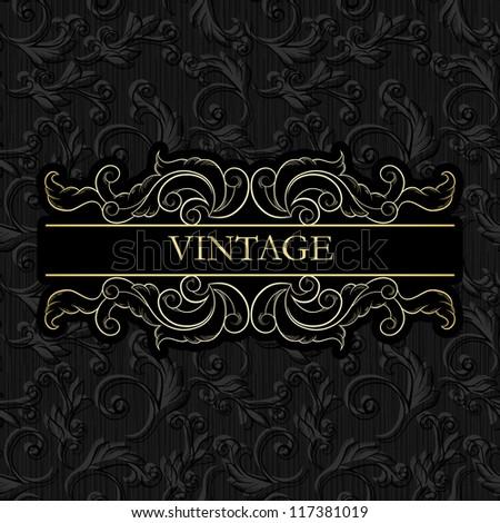 Vintage frame on seamless vintage wallpaper, Business card, Menu etc - stock vector
