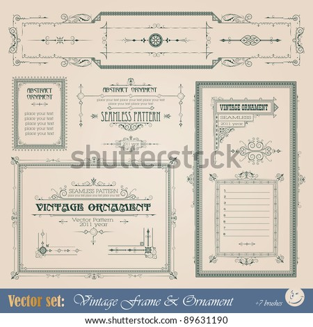 Vintage frame, ornament and element for decoration and design - stock vector