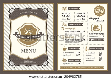 Vintage Frame restaurant menu design - stock vector