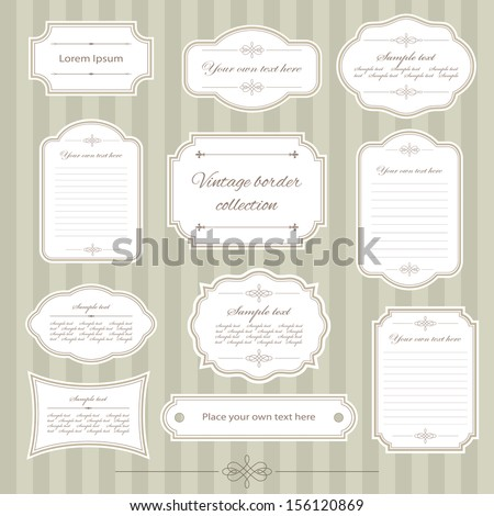 Vintage frame set. Calligraphic design elements. - stock vector